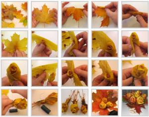 поделки из природных материалов своими руками для детей как сделать розу из кленовых листьев