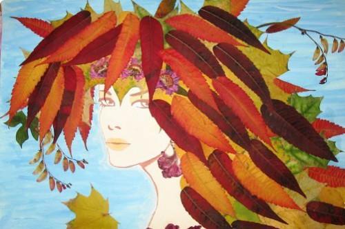 Волос из осенних листьев