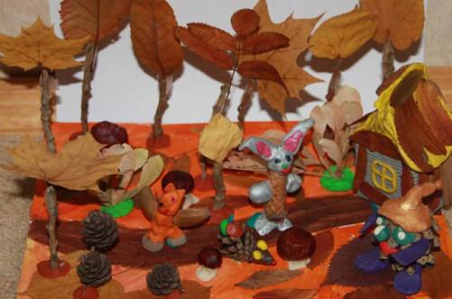 Поделки только из природного материала на тему осень своими руками фото